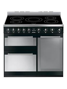 Smeg Sy93Ibl 90Cm 3-Cavity Range Cooker With Induction Hob - Black