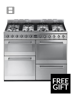 Smeg SYD4110 110cm Symphony Dual Fuel Range Cooker - Stainless Steel