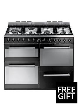 smeg-syd4110bl-symphony-110cm-dual-fuel-range-cooker-black