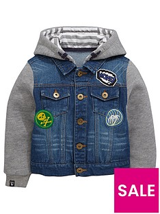 mini-v-by-very-boys-badged-jersey-sleeve-denim-jacket
