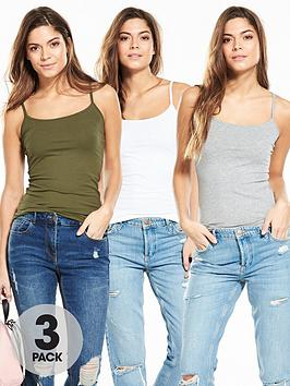 V By Very 3 Pack Of Strappy Vest Tops