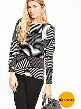 wallis-puzzle-stripe-slash-neck-top