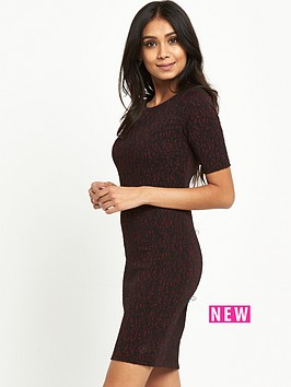 wallis-petite-berry-jacquard-dress