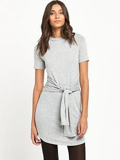 miss-selfridge-tie-front-t-shirtnbspdress-grey