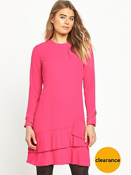 warehouse-pleated-hem-shift-dress-pink