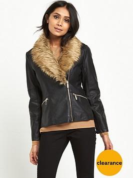 wallis-petite-glam-faux-fur-pu-jacket-black