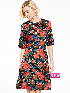 warehouse-rose-print-ponte-dress