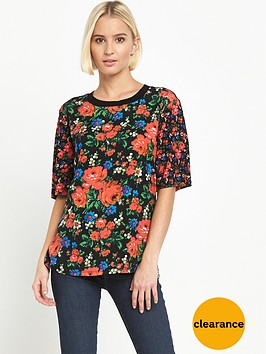 warehouse-floral-woven-front-t-shirt