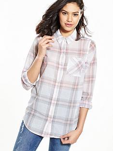 v-by-very-longerline-check-shirt