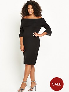 lost-ink-curve-knitted-rib-bardot-dress
