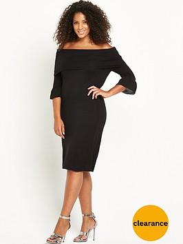 lost-ink-curve-lightweight-knitted-rib-bardot-dress-black