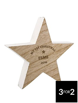 personalised-1st-christmas-2016-wooden-star-decoration