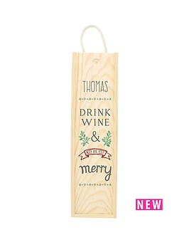 personalised-be-merry-wooden-wine-gift-box