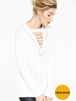 v-by-very-lace-up-cable-knit-jumper