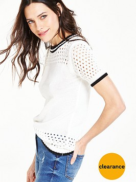 v-by-very-sporty-pointelle-short-sleeve-jumper-monochrome