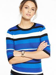 v-by-very-stripe-three-quarter-sleeve-crew-neck-jumper