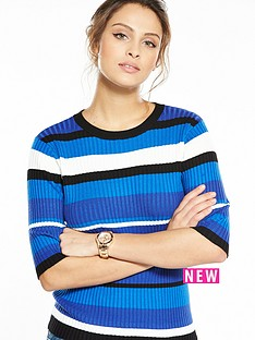 v-by-very-stripe-three-quarter-sleeve-crew-neck-jumper