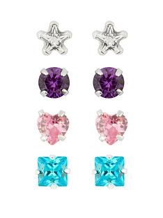 love-silver-sterling-silver-set-of-4-multi-shaped-studs