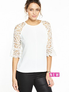 v-by-very-fluted-lace-sleeve-top-whitenbsp