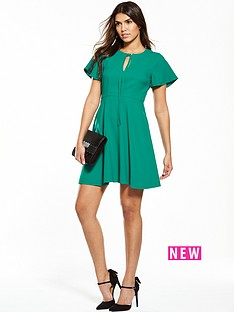 v-by-very-angel-sleeve-dress-green