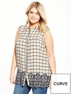v-by-very-curve-brodie-trim-sleeveless-checked-shirt
