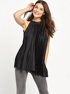 replay-pleated-halter-top-black