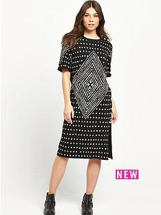 replay-patterned-tee-dress-black