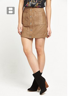 replay-leather-skirt-tan