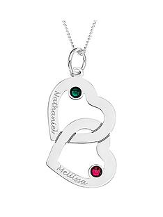 love-silver-personalised-sterling-silver-crystal-set-double-heart-pendant