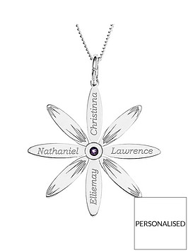 the-love-silver-collection-personalised-sterling-silver-cz-set-family-daisy-pendant