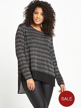 v-by-very-curve-woven-hem-lurex-jersey-top-blacksilver