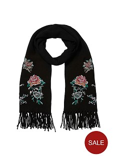 river-island-embroidered-scarf-black