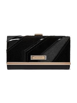 river-island-diagonal-cutabout-velvet-purse-black