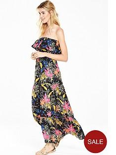 v-by-very-cheetah-frill-bandeau-beach-maxi-dress