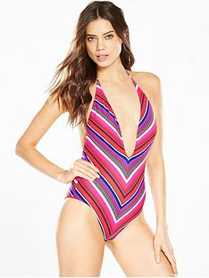 v-by-very-stripe-plunge-swimsuit
