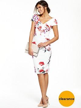 v-by-very-floral-v-neck-pencil-dress-whitenbsp