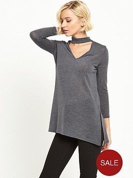 river-island-long-sleeve-jumper-with-choker-detail-grey