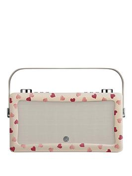 Image of View Quest Hepburn Mk Ii Dab Radio &Amp; Bluetooth Wireless Speaker - Emma Bridgewater Pink Hearts