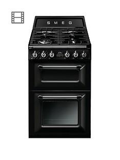 Smeg TR62BLVictoria60cm 2 Cavity Dual Fuel Mini Range Cooker - Black