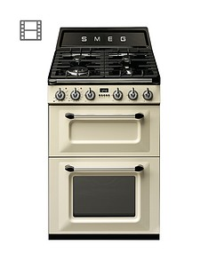 Smeg TR62P Victoria 60cm 2 Cavity Dual Fuel Mini Range Cooker - Cream