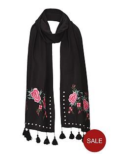 v-by-very-flower-embroiderednbspamp-stud-detail-scarf-blacknbsp