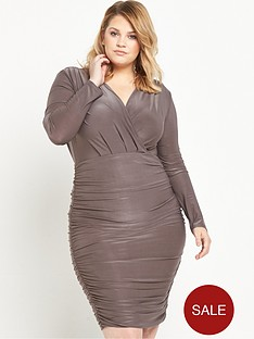 ax-paris-curve-ruched-midi-dress-pewter