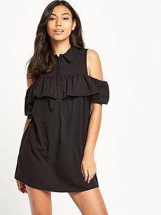 ax-paris-cold-shoulder-button-up-dress-black