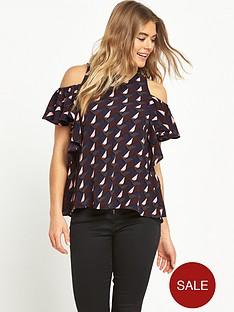 ax-paris-cold-shoulder-printed-blouse