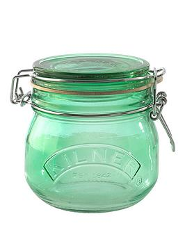 kilner-set-of-3nbsp05-litre-round-clip-top-storage-jars-in-green