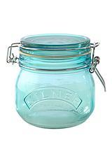 Set of 30.5-litre Round Clip Top Storage Jars in Blue