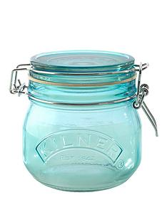 kilner-set-of-3nbsp05-litre-round-clip-top-storage-jars-in-bluenbsp