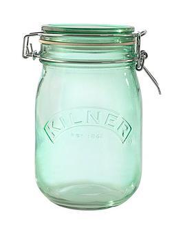 kilner-set-of-3-1-litre-round-clip-top-storage-jars-in-green