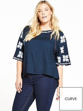 v-by-very-curve-embroidered-sleeve-raglan-shell-top