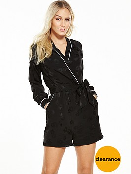 v-by-very-petite-petite-piping-satin-look-jacquard-playsuitnbsp--black